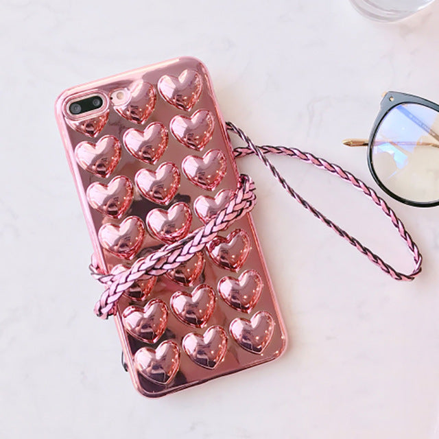 Luxury Electroplate Heart Phone Case