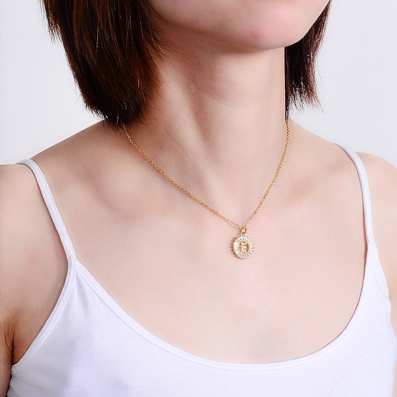 Iced Initial Pendant Necklace