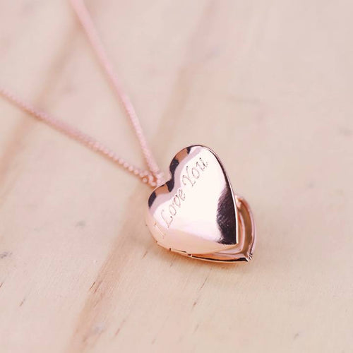 """I Love You"" Heart Locket Necklace"