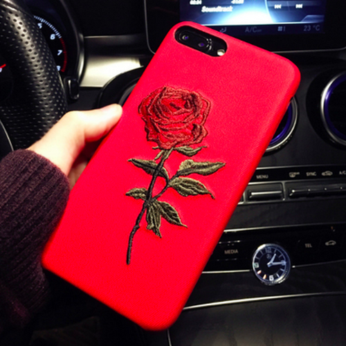 Embroidery Rose iPhone Case