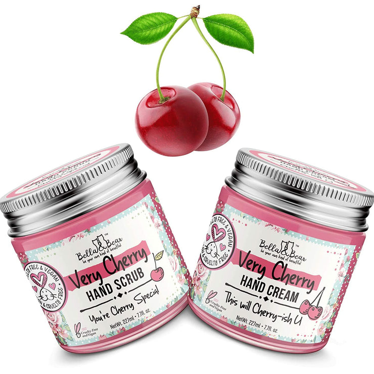 Bella and Bear Skin Care Bella and Bear Very Cherry Hand Scrub Exfoliating Dry Skin Remover - Oil Free - Hydrating Skin Smoothing Hand and Foot Scrub - Vegan