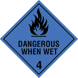 Class 4.3 Danger When Wet labels