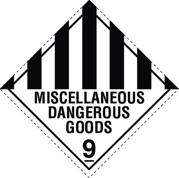 Class 9.0 Miscellaneous Dangerous Goods labels