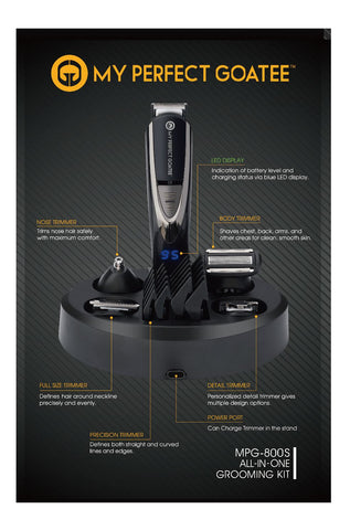 My Perfect Goatee Beard Trimmer, LED Battery Indicator, 13 in 1 Grooming Kit and Travel Bag