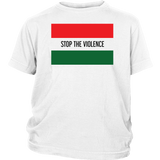 "Youth & Adult Tee ""Stop The Violence"" (black ink)"