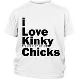 "Youth & Adult Tee ""I Love Kinky (Haired) Chicks"" (black print)"