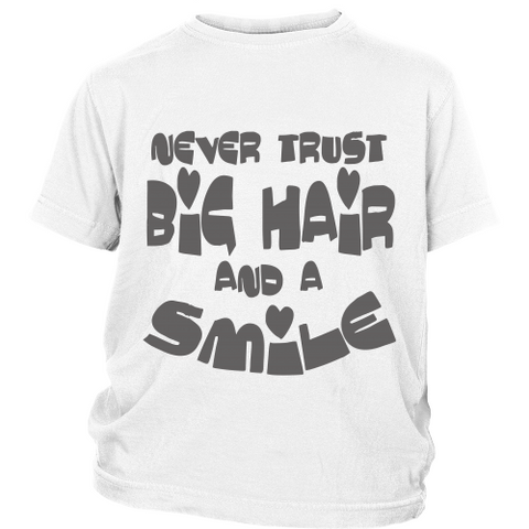 "Youth Tee ""Big Hair and a Smile"" (grey print)"