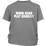 "Youth & Adult Tee ""Play Harder"" (white print)"