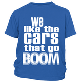 "Youth Tee ""Boomin' Cars"" (white print)"
