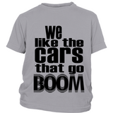 "Youth Tee ""Boomin' Cars"" (black print)"
