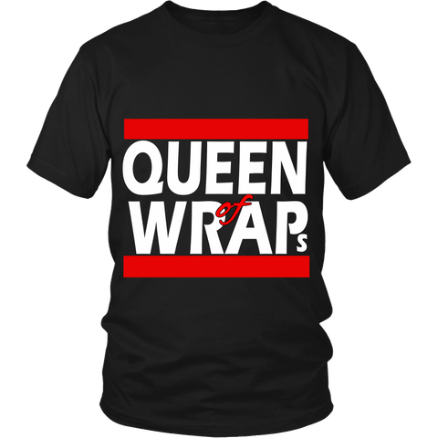 "Adult Tee ""Queen of Wraps"" (white print)"