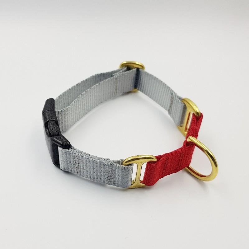 Oh Snap! dog collar - Grey / Red
