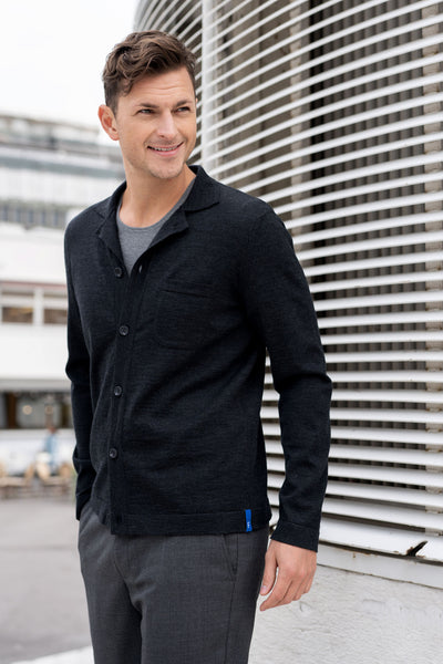Eero Merino Wool Knit Shirt - Antracite
