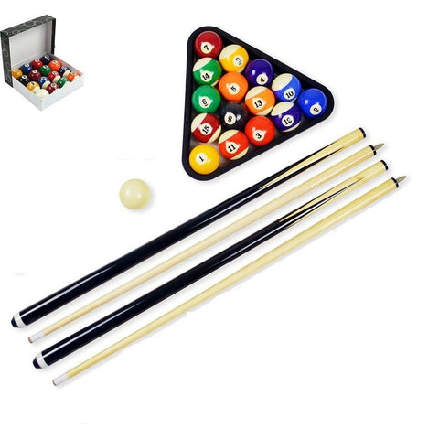 Pool table cue sticks and balls