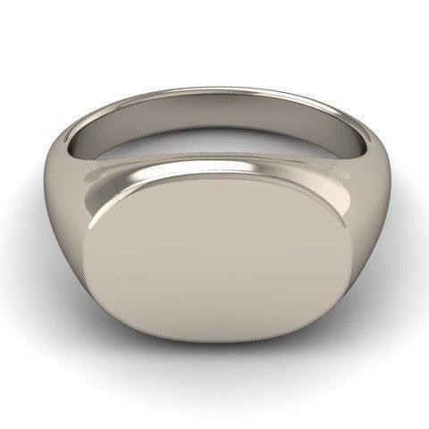 Your Design Oblong 18mm x 13mm  -  9 Carat White Gold Signet Ring