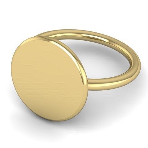Round 15mm  -  9 Carat Yellow Gold Signet Ring