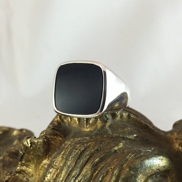 White Gold and Onyx Custom Made 15mm x 15mm  -  9 Carat White Gold Signet Ring