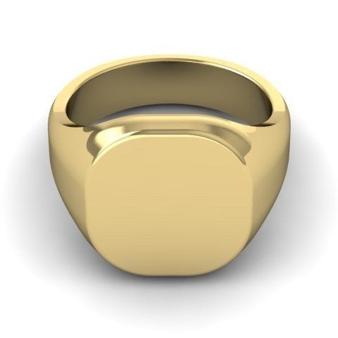 Cushion 14mm x 13mm - 18 Carat Yellow Gold Signet Ring