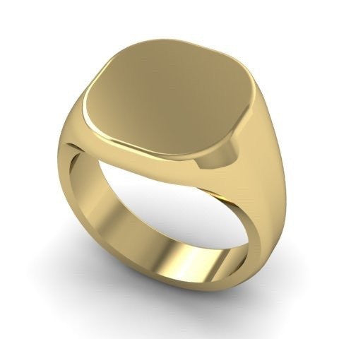 Cushion 14mm x 13mm - 9 Carat Yellow Gold Signet Ring