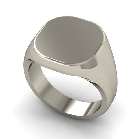 3 Initials Engraved  12mm x 11mm Cushion  -  9 Carat White Gold Signet Ring
