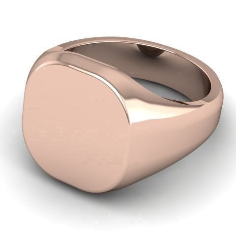 Cushion 12mm x 11mm  -  18 Carat Rose Gold Signet Ring