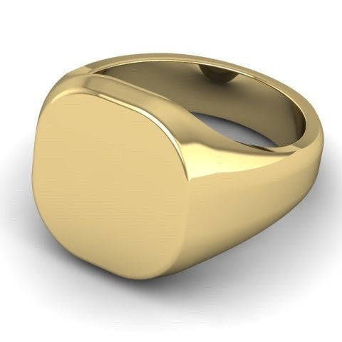 Cushion 12mm x 11mm - 9 Carat Yellow Gold Signet Ring