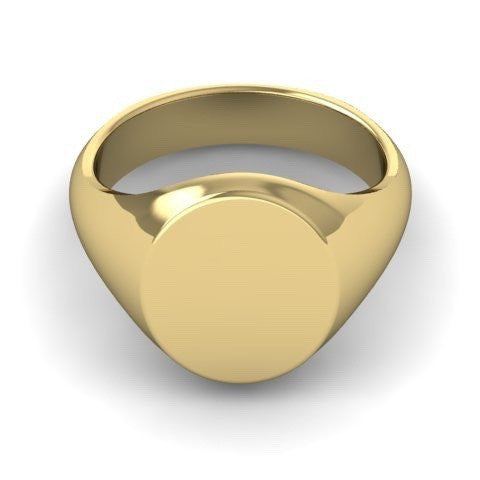 Classic Oval 14mm x 12mm - 9 Carat Yellow Gold Signet Ring