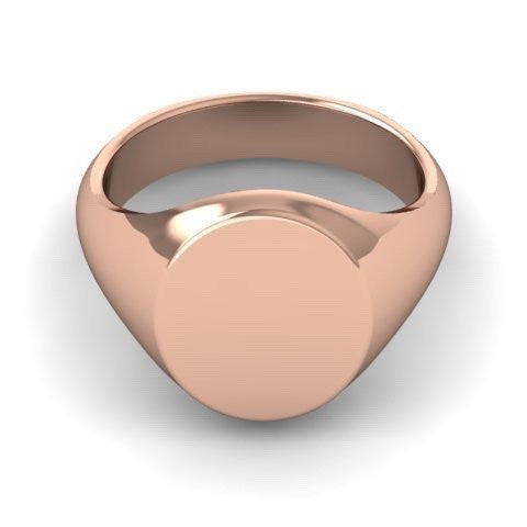 3 Initials Engraved 14mm x 12mm  -  9 Carat Rose Gold Signet Ring