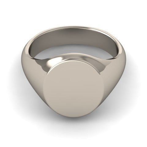 Classic Oval 14mm x 12mm - 9 Carat White Gold Signet Ring