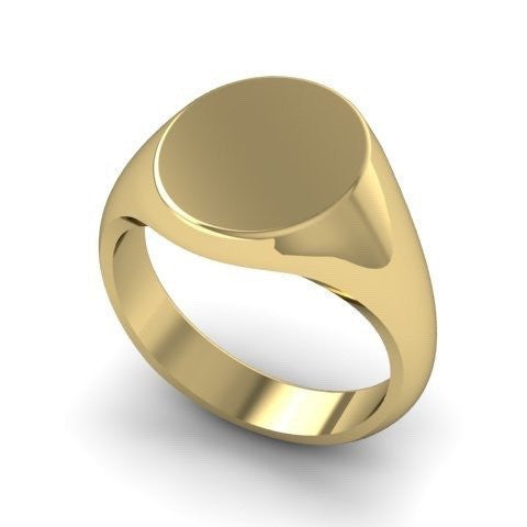 Family Crest Seal Engraved 11mm x 9mm  -  9 Carat Yellow Gold Signet Ring