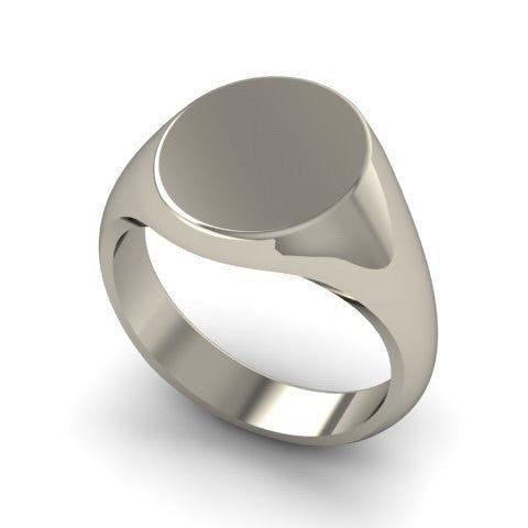 Classic Oval 13mm x 11mm - 9 Carat White Gold Signet Ring