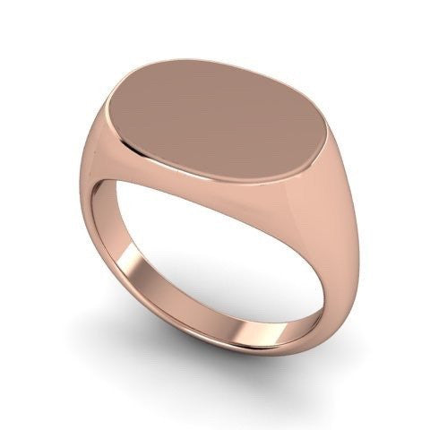 Oblong 15mm x 11mm  -  9 Carat Rose Gold Signet Ring