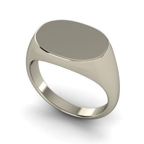 Oblong 15mm x 11mm  -  18 Carat White Gold Signet Ring