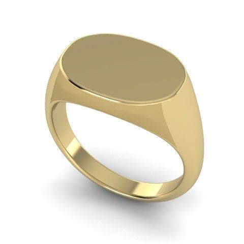 Oblong 15mm x 11mm  -  9 Carat Yellow Gold Signet Ring