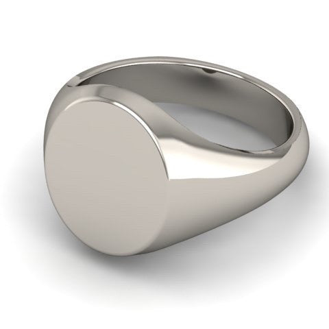 Classic Oval 13mm x 11mm - 18 Carat White Signet Ring