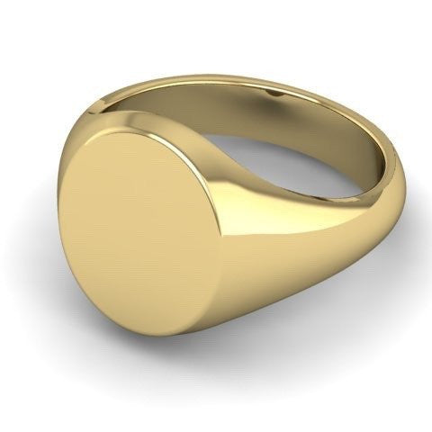 3 Initials Engraved 11mm x 9mm  -  9 Carat Yellow Gold Signet Ring