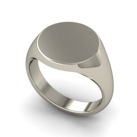 Round 13mm  -  18 Carat White Gold Signet Ring