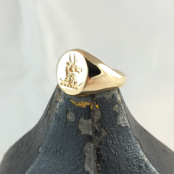 Family Crest Seal Engraved 13mm x 11mm  -  9 Carat Yellow Gold Signet Ring