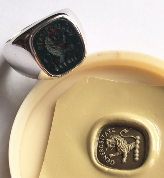 Seal Engraved Bloodstone Custom Made 12mm x 11mm  -  9 Carat White Gold Signet Ring
