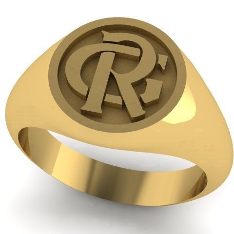 2 Initials Monogram Design 14mm Round  -  9 Carat Yellow Gold Signet Ring
