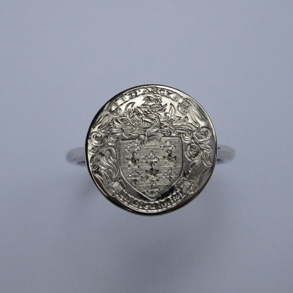 Family Coat of Arms Hand Engraved Round 15mm  -  Sterling Silver Signet Ring