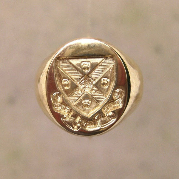 Family Coat of Arms Seal Engraved 13mm x 11mm  -  9 Carat Yellow Gold Signet Ring