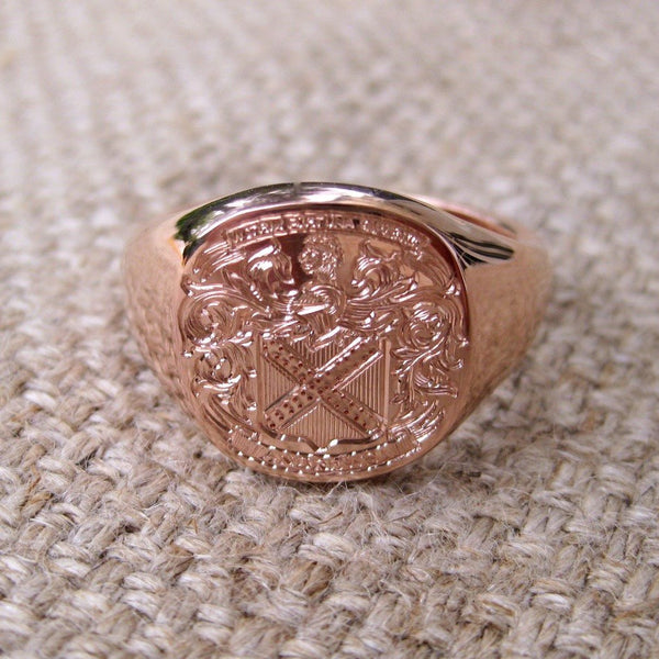 Family Coat of Arms Engraved 14mm x 13mm  -  9 Carat Rose Gold Signet Ring