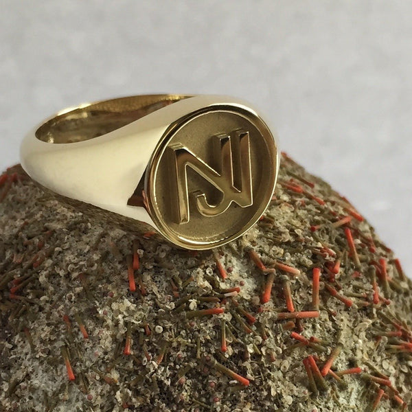 2 Initials Monogram Design 14mm Round  -  18 Carat Yellow Gold Signet Ring