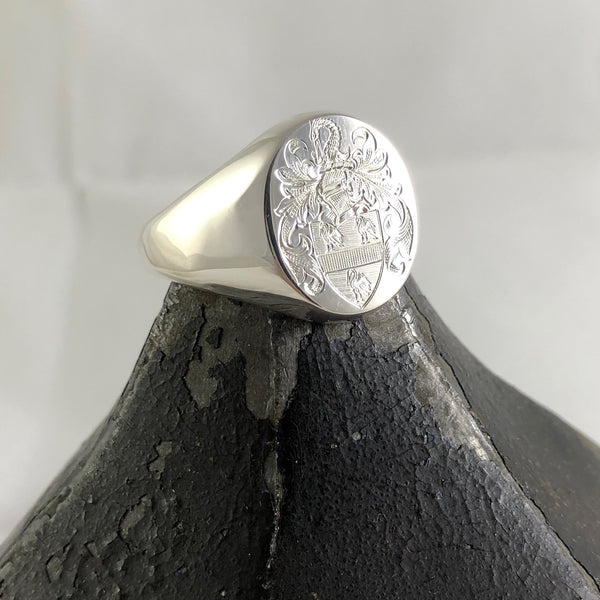 Family Coat of Arms Surface Engraved 14mm x 12mm  -  9 Carat White Gold Signet Ring