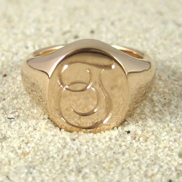 1 initial engraved signet ring