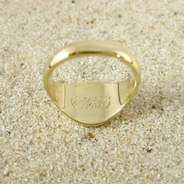1 Initial Engraved  11mm x 9mm  -  9 Carat Yellow Gold Signet Ring