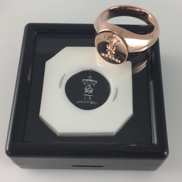 Family Crest Seal Engraved 11mm x 9mm  -  9 Carat Rose Gold Signet Ring