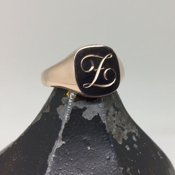1-3 Initials Engraved  14mm x 13mm Cushion  -  9 Carat Rose Gold Signet Ring
