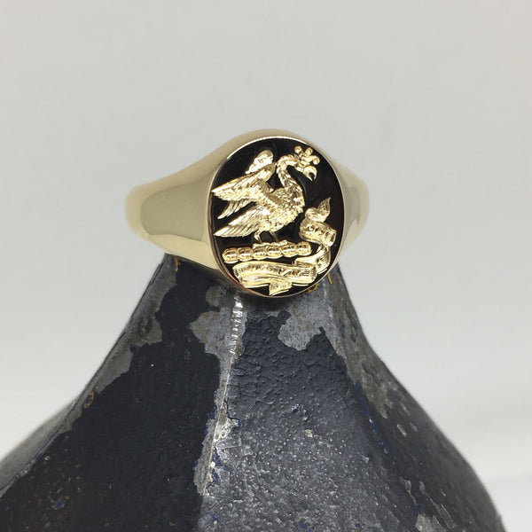 Family Crest Seal Engraved 14mm x 12mm  -  18 Carat Yellow Gold Signet Ring